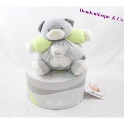 Doudou boule ours KALOO Zen gris vert anis 17 cm