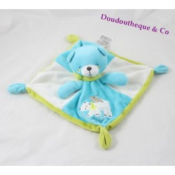 Teddy bear comforter WORDS OF CHILDREN blue green polar bear Leclerc 32 cm