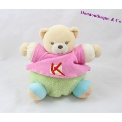 Doudou ball bear KALOO Sporty tee shirt pink green 17 cm
