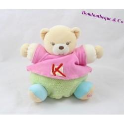 Doudou boule ours KALOO Sporty tee shirt rose vert 17 cm