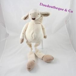Peluche sonore Glouton le mouton LES PETITES MARIES longue pattes beige bandana 47 cm