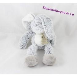 Doudou lapin HISTOIRE D'OURS gris blanc poils chiné 25 cm