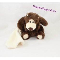 Doudou ours BABY NAT' marron brun mouchoir blanc 18 cm