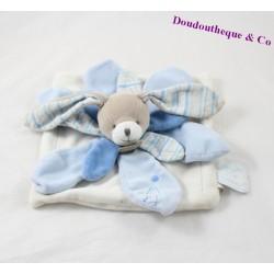 Rabbit flat comforter DOUDOU ET COMPAGNIE Célestin petal blue white 23 cm