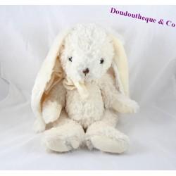 Peluche lapin BUKOWSKI blanc crème noeud autour du cou 40 cm