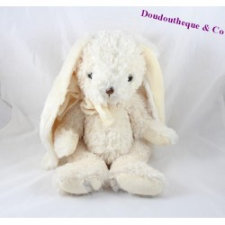Plush rabbit BUKOWSKI creamy white knot around 40 cm neck