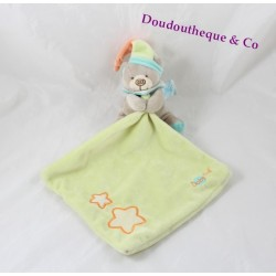Doudou mouchoir ours BABY NAT' Luminescent étoile vert orange 33 cm