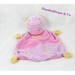 Doudou plat chat SAUTHON BABY DECO sweet company rose violet 24 cm