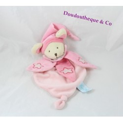 Doudou plat souris BABY NAT' Les luminescents rose étoiles 26 cm