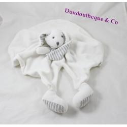 Doudou plat lapin BOUCHARA layette blanc gris Eurodif 44 cm
