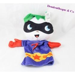 Doudou marionnette ZEEMAN héros masqué violet blanc 28 cm