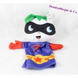 ZEEMAN puppet comic hero masked purple white 28 cm