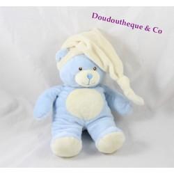 Peluche ours GIPSY bleu beige bonnet beige 27 cm