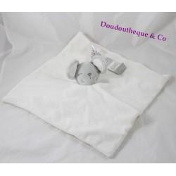 Doudou plat souris PRIMARK BABY blanc étoiles grises 30 cm