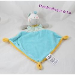 Doudou plat âne MOTS D'ENFANTS losange zèbre cheval bleu jaune 37 cm