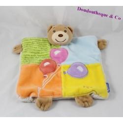 Doudou marionnette Ours KALOO ballons anniversaire patchwork 24 cm