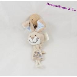 Attached lollipop rabbit NOUKIE's Oscar and Leon beige blue train 20 cm