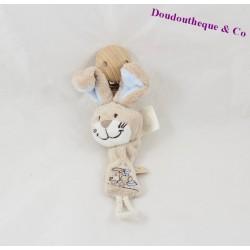 Attached lollipop rabbit NOUKIE's Oscar and Leon beige blue train 20 cm