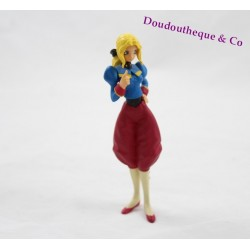 Figurine manga Japonais femme blonde capitaine armée tenue rouge bleu 12 cm