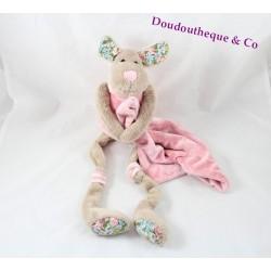 Doudou chien LA GALLERIA mouchoir rose beige longues pattes 42 cm