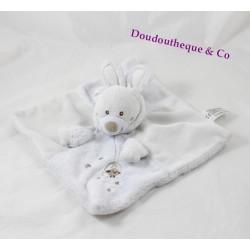 Doudou plat ours NICOTOY déguisé en lapin beige cage 23 cm
