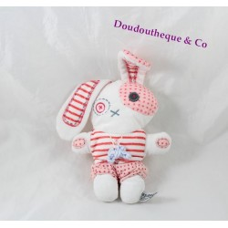 Rabbit comforter TAPE WITH EYE TAO pink striped blue bow 29 cm