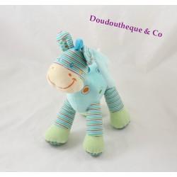 Peluche musicale zèbre cheval NICOTOY bleu rayures 24 cm