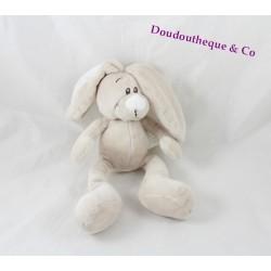 Doudou lapin KIMBALOO beige gris blanc La Halle 26 cm