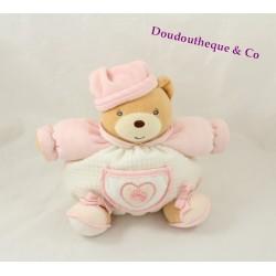 Doudou boule ours KALOO hochet poche coeur rose