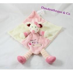 Flat Doudou mouse KIABI I am a mouse like this pink white