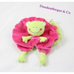 Doudou plat grenouille NICOTOY rose vert couronne