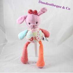 Doudou rabbit H & M pink orange printed gingham 32 cm
