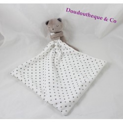 Doudou ours OBAIBI mouchoir pois gris taupe blanc 36 cm
