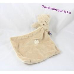 Doudou mouchoir ours THE PLUSHIES COLLECTION BY LOMBOK beige coeur écru