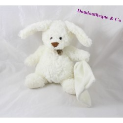 Doudou mouchoir lapin BABY NAT' blanc 22 cm