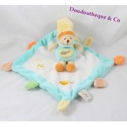 Doudou plat ours BABY NAT' carré bleu blanc pot de miel