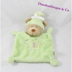 Doudou plat ours NICOTOY vert bonnet noeud blanc étoile