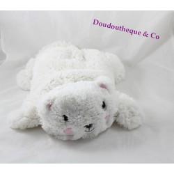 Peluche chat ETAM range pyjama doudou bouillotte blanc 39 cm