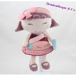 Peluche poupée Hanaé SAUTHON Trop mimi rose fille Sauthon Baby Déco 26 cm