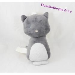 Doudou musical chat OBAIBI réversible gris blanc 23 cm
