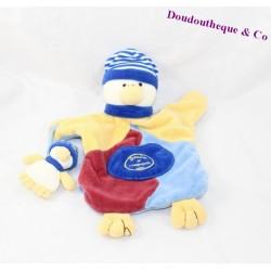 Doudou marionnette canard et poussin DOUDOU ET COMPAGNIE jaune bleu 28 cm