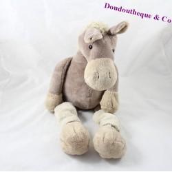 Peluche cheval HISTOIRE D'OURS Ane marron chaussette 46 cm