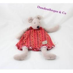 Doudou plat Nini la souris MOULIN ROTY La Grande Famille robe rouge 30 cm