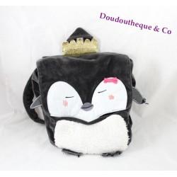 Sac à dos pingouin DPAM Du Pareil Au Même noir blanc peluche