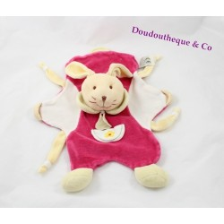 Doudou flat rabbit DOUDOU AND COMPANY pink pouch yellow flower puppet