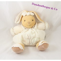 Doudou patapouf lapin KALOO collection pure motif feuille 22 cm assis