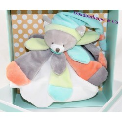 Cuddly cat comforter DOUDOU AND COMPANY peach mint petals collector
