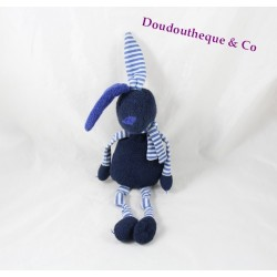 Doudou lapin BOUT'CHOU bleu marine rayé Monoprix 32 cm