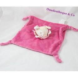 Doudou plat faon biche KIMBALOO rose col fleuris noeud 25 cm