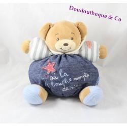 Doudou patapouf ours KALOO Blue Denim J'ai la bouche remplie de rire 25 cm